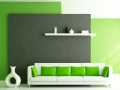 Зеленый цвет в интерьере гостиной