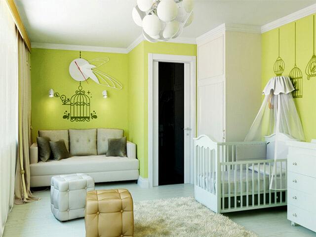 зеленые обои в детскую комнату