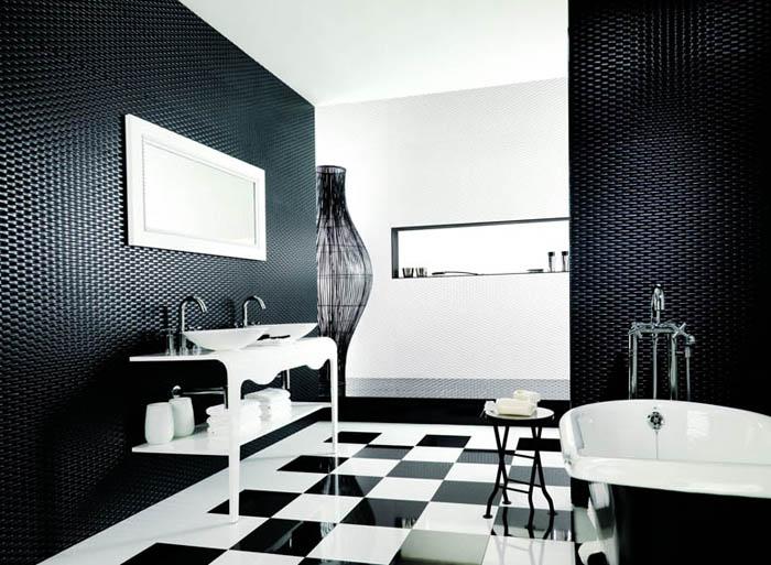 Черно-белый интерьер в ванной комнате