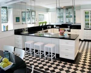 Черно-белый интерьер на кухне