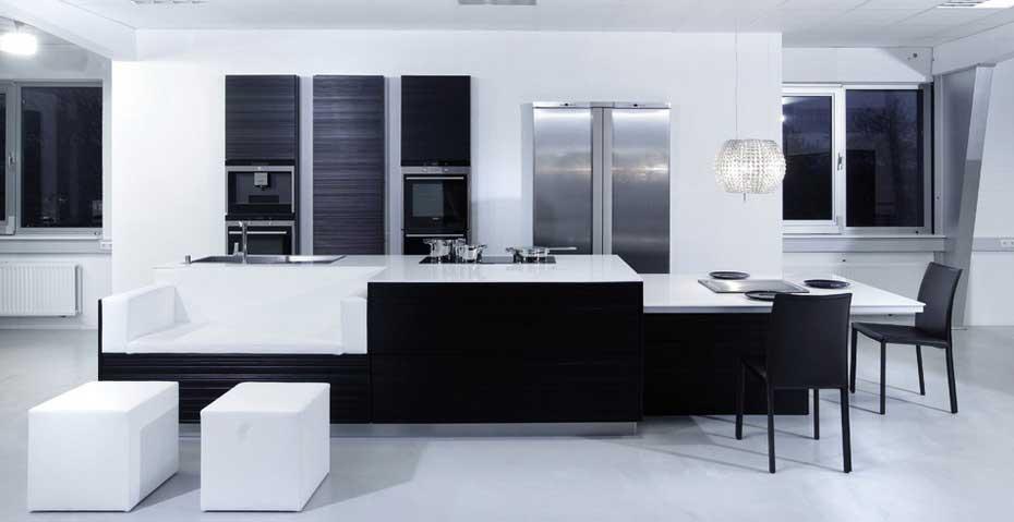 Кухня в черно-белом