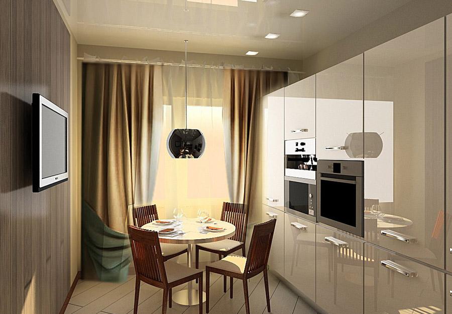 маленькая кухня в стиле Hi-Tech