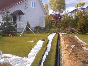 Монтаж внешней сети системы канализации