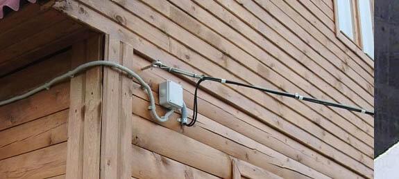 электропроводка воздушным способом